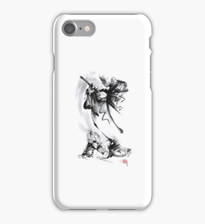 Aikido techniques martial arts sumi-e black and white ink painting watercolor art print painting, japanese warrior artwork iPhone Case/Skin