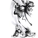 Aikido techniques martial arts sumi-e black and white ink painting watercolor art print painting, japanese warrior artwork by Mariusz Szmerdt