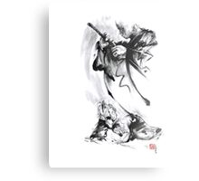 Aikido techniques martial arts sumi-e black and white ink painting watercolor art print painting, japanese warrior artwork Metal Print