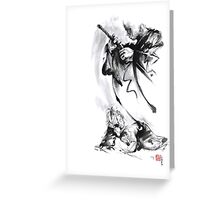Aikido techniques martial arts sumi-e black and white ink painting watercolor art print painting, japanese warrior artwork Greeting Card