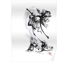Aikido techniques martial arts sumi-e black and white ink painting watercolor art print painting, japanese warrior artwork Poster