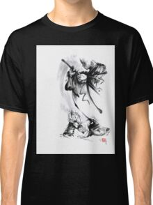 Aikido techniques martial arts sumi-e black and white ink painting watercolor art print painting, japanese warrior artwork Classic T-Shirt
