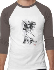Aikido techniques martial arts sumi-e black and white ink painting watercolor art print painting, japanese warrior artwork Men's Baseball ¾ T-Shirt