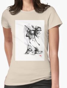 Aikido techniques martial arts sumi-e black and white ink painting watercolor art print painting, japanese warrior artwork Womens Fitted T-Shirt