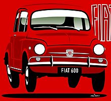 Fiat 600 red by car2oonz