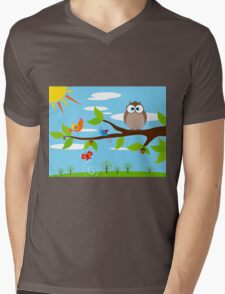 Owl — Front Scene Mens V-Neck T-Shirt