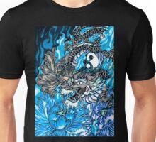 Japanese dragon with blue frame  Unisex T-Shirt