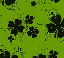 Saint Patrick's Day, Clovers, Swirls - Green Black by sitnica