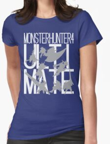 Monster Hunter 4 Ultimate - Crew (white text) Womens Fitted T-Shirt
