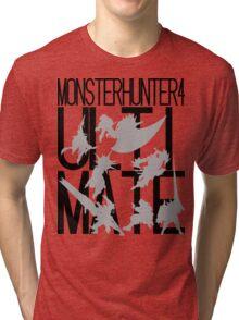 Monster Hunter 4 Ultimate - Crew (black text) Tri-blend T-Shirt