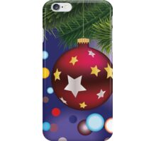 Red Christmas ball on branch iPhone Case/Skin