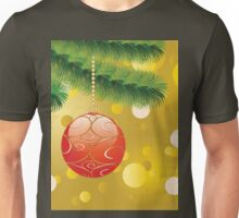 Red Christmas ball on branch 2 Unisex T-Shirt