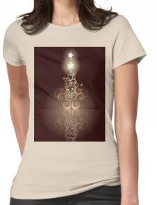 Card with Decorative Christmas Tree Womens Fitted T-Shirt