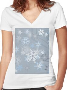 Snowflakes background Women's Fitted V-Neck T-Shirt