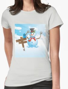 Snowman and signboard Womens Fitted T-Shirt