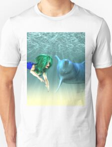 Mermaid with a dolphin 2 T-Shirt
