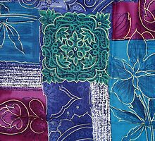 Patchwork, Flowers, Swirls - Blue Pink Green by sitnica