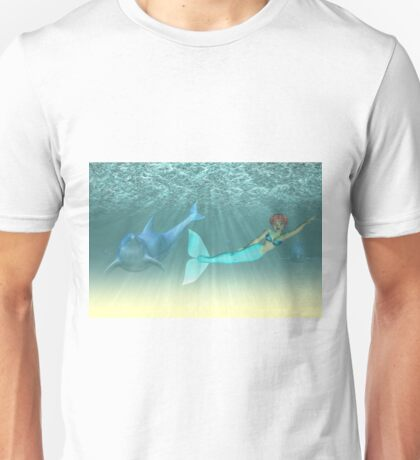 Mermaid with a dolphin 5 Unisex T-Shirt