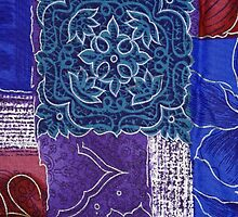 Patchwork, Flowers, Swirls - Blue Red Purple by sitnica