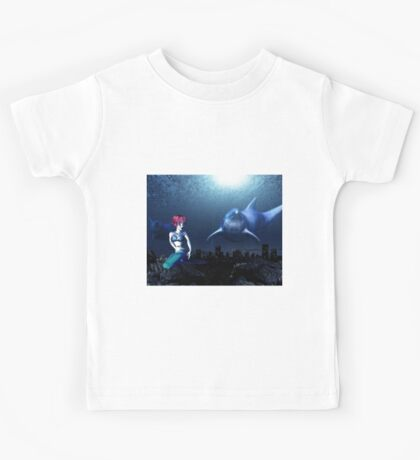 Mermaid with a dolphin 7 Kids Tee