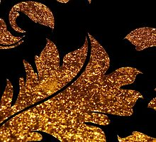 Floral Damask, Glitter Glow - Gold Black  by sitnica