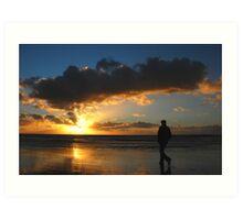 Walking towards the seaside sunset Art Print