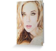 Scarlett Johansson, Pastels Portrait, by James Patrick Greeting Card