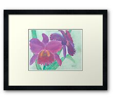 Beautiful Purple Orchid - Oil Pastel  Framed Print