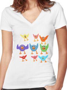 Cute Birds  Women's Fitted V-Neck T-Shirt