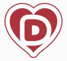 Heart D letter Kids Tee
