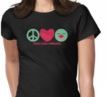 PEACE LOVE SMOOCHIES Valentines day Womens Fitted T-Shirt
