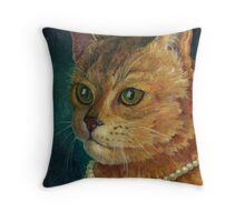 A Cat with a Pearl Necklace Throw Pillow