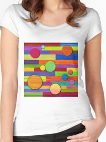Banded, Color Pencil Abstract Art Women's Fitted Scoop T-Shirt