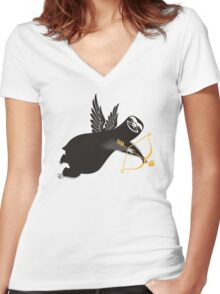 Funny sloth cupid bow arrow Valentines Day Women's Fitted V-Neck T-Shirt