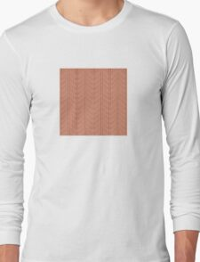 White and Orange Feather Pattern Long Sleeve T-Shirt