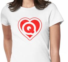 Heart Q letter Womens Fitted T-Shirt