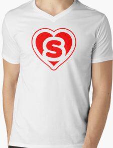 Heart S letter Mens V-Neck T-Shirt
