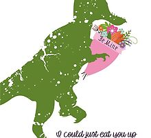 Derpy t-rex dinosaur flower bouquet Valentines Day by BigMRanch