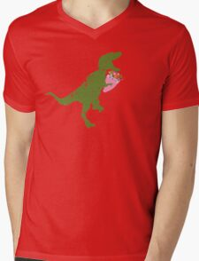 Derpy t-rex dinosaur flower bouquet Valentines Day Mens V-Neck T-Shirt