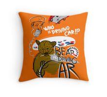 Bear is Driving Car! Throw Pillow