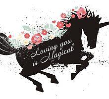 Pretty galloping unicorn flowers love Valentines Day by BigMRanch