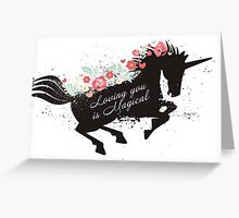 Pretty galloping unicorn flowers love Valentines Day Greeting Card