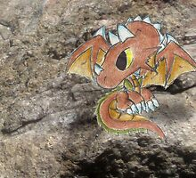 Tricera Dragon Hatchling on the Rocks by KOKeefeArt
