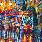 Rainy Trolley — Buy Now Link - www.etsy.com/listing/218763368 by Leonid  Afremov