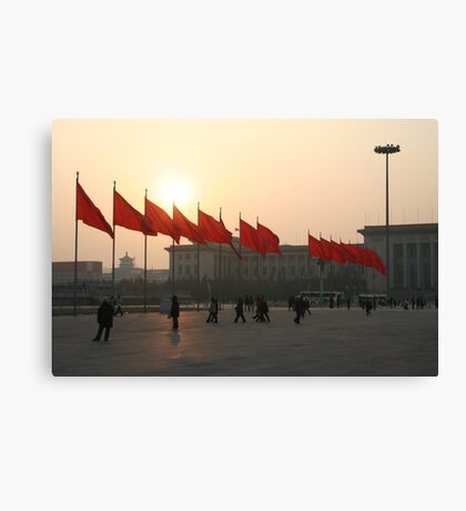 The red flags of Tiananmen Canvas Print