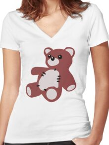 TEDDY BEAR TOY  Women's Fitted V-Neck T-Shirt