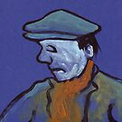 Man in a flat cap by sword