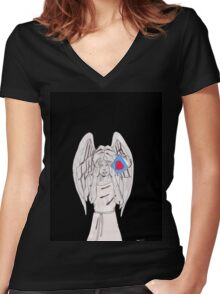 Weeping valentine Women's Fitted V-Neck T-Shirt