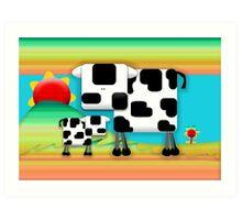 Moo Cow Sunrise Family Art Print