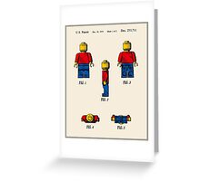 Lego Man Patent - Colour (v2) Greeting Card